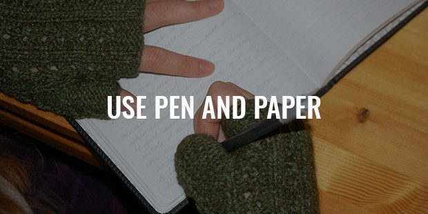 Pen and paper instead of internet