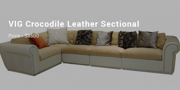 Vig Crocodile Leather Sectional Sofa 8500
