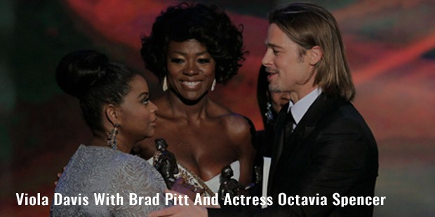 viola davis with brad pitt and actress octavia spencer