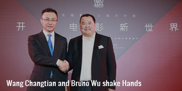 wang changtian and bruno wu shake hands