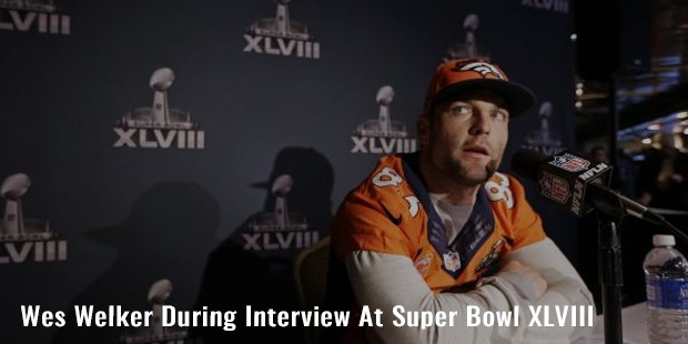wes welker during interview at super bowl xlviii