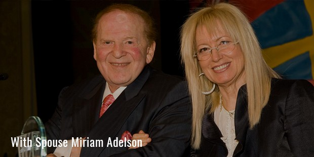 with spouse miriam adelson