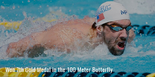 won 7th gold medal in the 100 meter butterfly