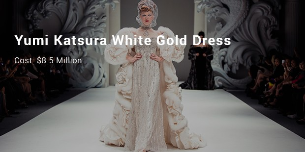 yumi katsura white gold dress