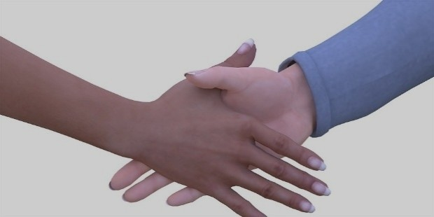 a firm and a weak handshake