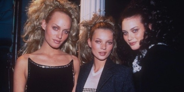 amber valletta, kate moss and shalom harlow in 1996