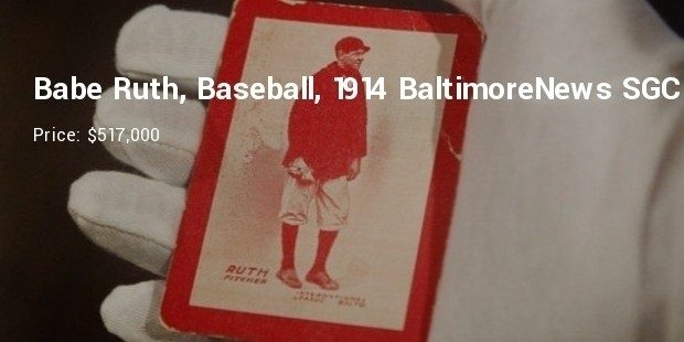 babe ruth, baseball, 1914 baltimore news sgc