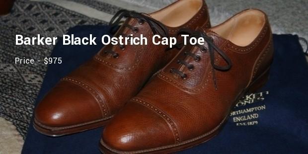 barker black ostrich cap toe