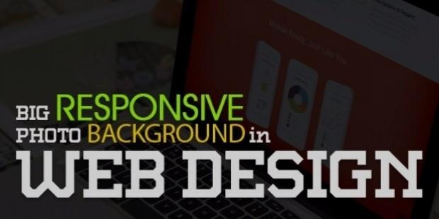 big responsive photo background web design