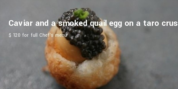 bo innovation   caviar and a smoked quail egg on a taro crust at bo innovation