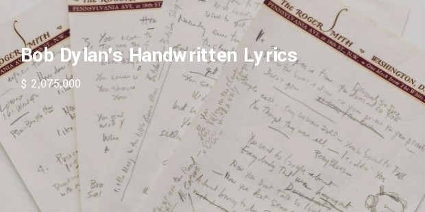bob dylans handwritten lyrics to like a rolling stone