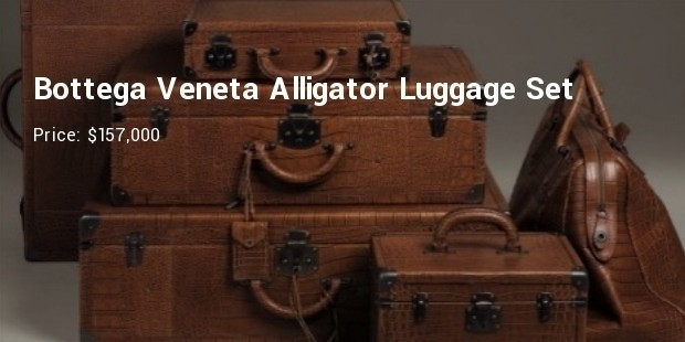 bottega veneta alligator skin leather luggage set
