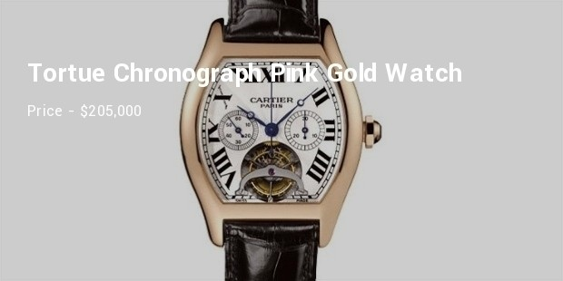 cartier extra large tortue chronograph pink gold watch