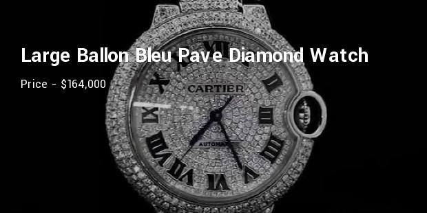 cartier large ballon bleu pave diamond watch