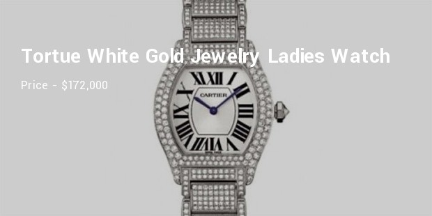 cartier large tortue white gold jewelry ladies watch