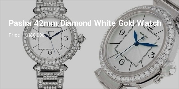 cartier pasha 42mm diamond white gold watch