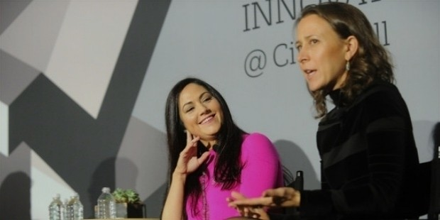 cindy whitehead  l  and 23andme ceo anne wojcicki speak onstage during  the fast company innovation festival