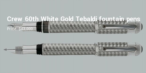 crew 60th white gold tebaldi fountain pens