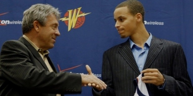 curry, left, with larry riley,