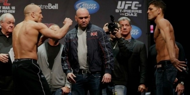 dana white won t be looking to step in and keep georges st pierre and nick diaz apart