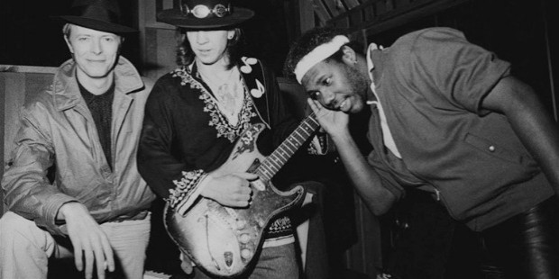 david bowie, stevie ray vaughn, and nile rodgers during the sessions for lets dance, 1982,