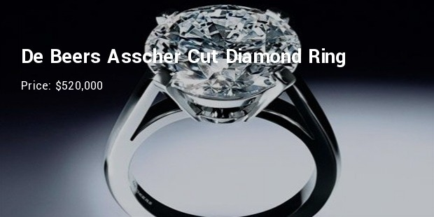 de beers asscher cut diamond engagement ring