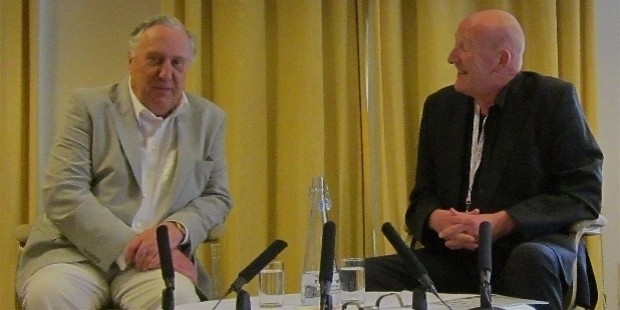 diamond dagger winner frederick forsyth being interviewed by peter guttridge