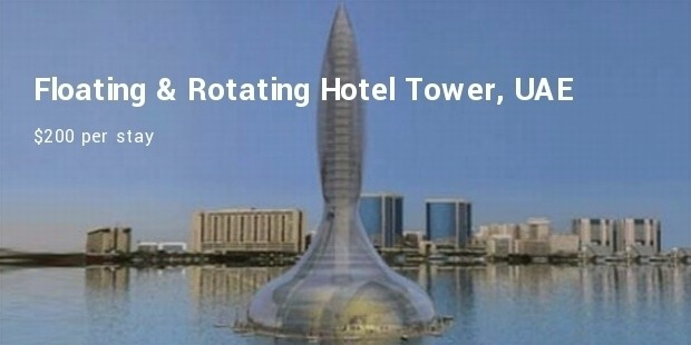floating   rotating hotel tower,