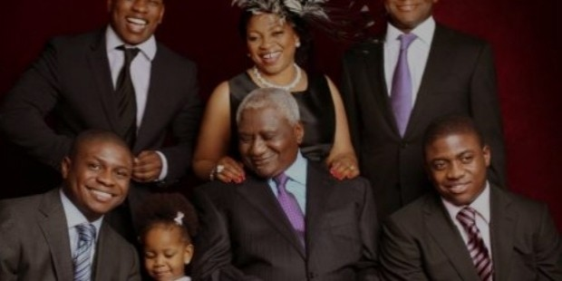 folorunsho with her husband modupe alakija, four sons and grand daughter