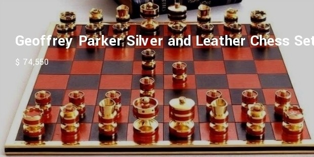 geoffrey parker silver and leather chess set