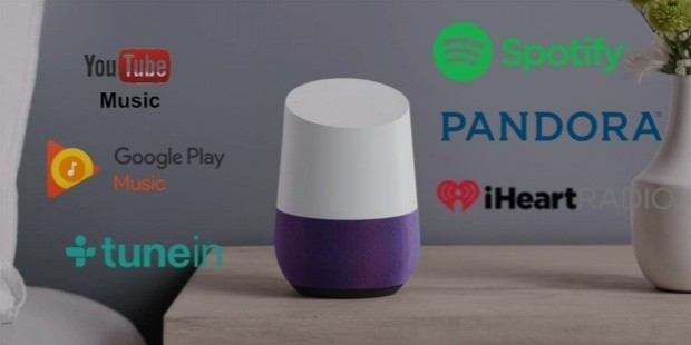 google home music services