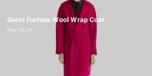gucci fuchsia wool wrap coat