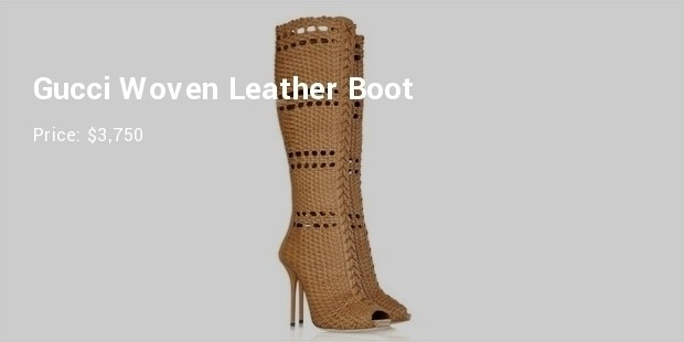 gucci woven leather boot