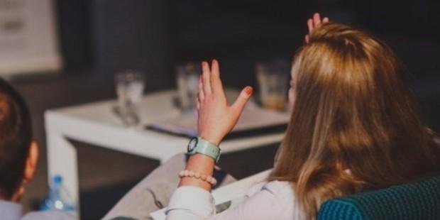 hands people woman meeting