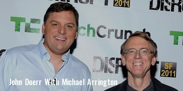 john doerr  r  and techcrunch founder and co editor michael arrington