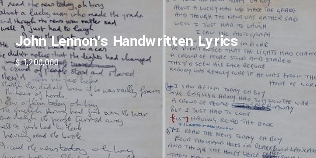 john lennons handwritten lyrics to a day in the life