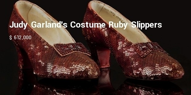 judy garlands costume ruby slippers from the wizard of oz