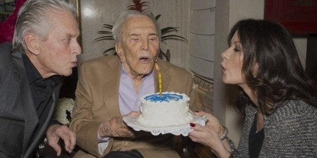 kirk douglas 100th birthday with son