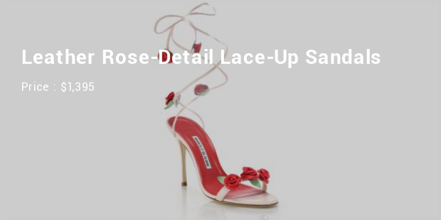 leather rose detail lace up sandals