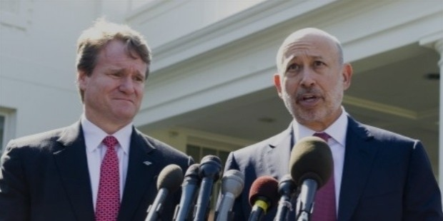 lloyd blankfein  r , chairman and ceo of goldman sachs, and brian moynihan  l