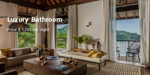 luxury bathroom, four season seychelles serenity villa