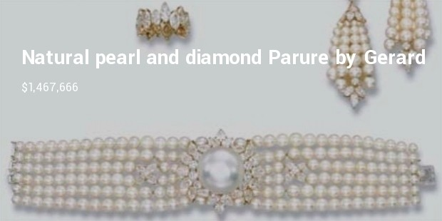magnificent and highly important natural pearl and diamond parure by grard including an exceptional button shaped natural pearl and a diamond eternity ring   2