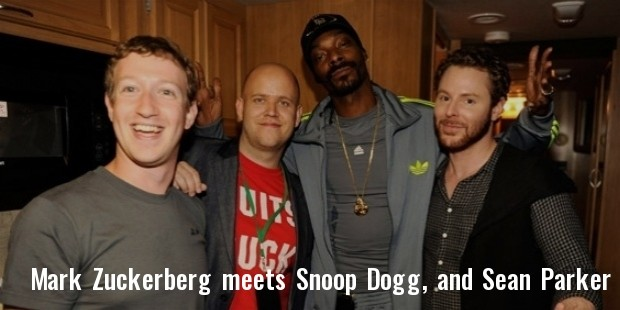 mark zuckerberg, rapper snoop dogg, and entrepreneur sean parker