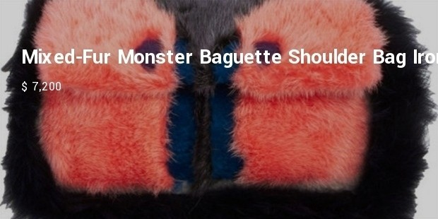 mixed fur monster baguette shoulder bag  iron