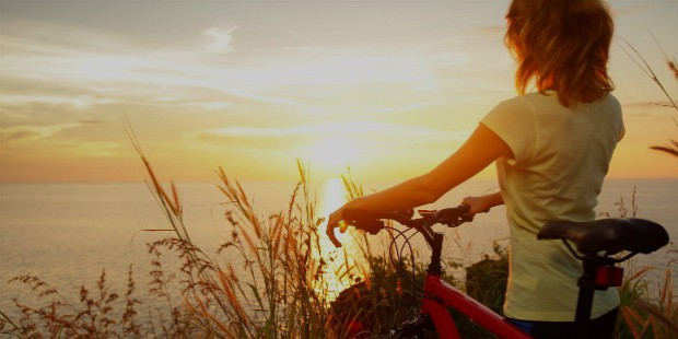 mood girl girl a woman sports bike nature rye wheat sunset sun sky clouds sea river water reflection background widescreen full screen widescreen hd wallpapers