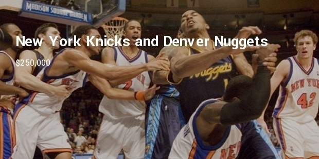 new york knicks and denver nuggets for brawl