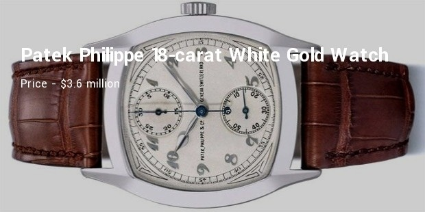 patek philippe 18 carat, white gold chronograph wristwatch