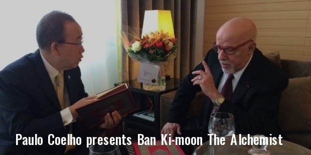 paulo coelho presents ban ki moon with a special signed edition of the alchemist