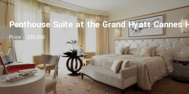 penthouse suite at the grand hyatt cannes hotel martinez in cannes, france
