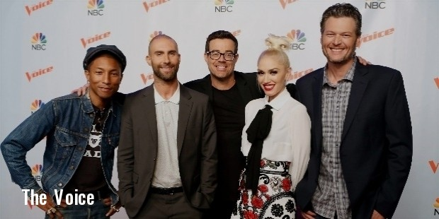 pharrell williams, adam levine, carson daly, gwen stefani and blake shelton